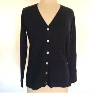 Talbots Classic Navy Button Cardigan with Pockets